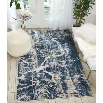 Mallery Beige/Blue Area Rug Rug Size: Rectangle 9'3