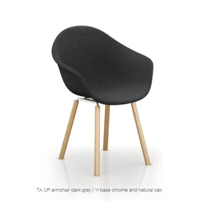 Castillo Armchair Upholstery: Dark Gray, Finish: Natural