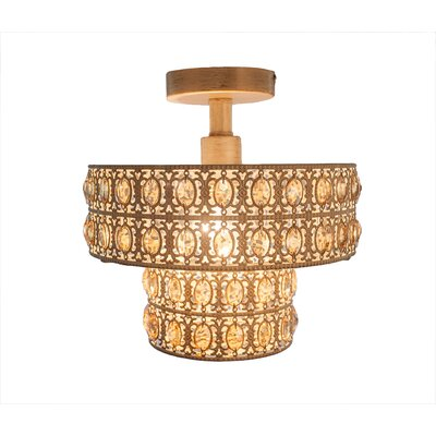 Monico 1-Light Semi Flush Mount Fixture Finish: Gold