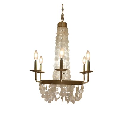 Poitras Capiz Shell Candelabra 6-Light Candle-Style Chandelier