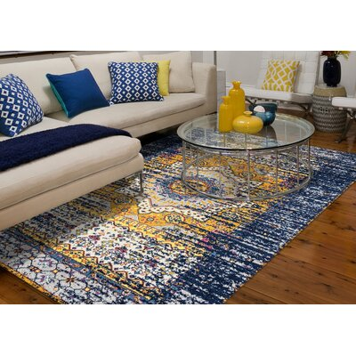 Penson Transitional Orange/Navy Area Rug Rug Size: Square 66 x 66
