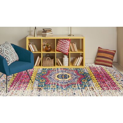 Penson Transitional Pink/Ivory Area Rug Rug Size: Square 66 x 66