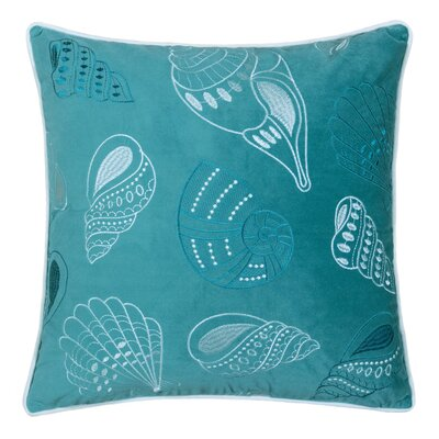 Farnham Embroidery Seashell Velvet Throw Pillow