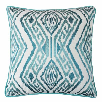 Gagliano Embroidery Velvet Throw Pillow Color: Turquoise