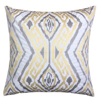 Gagliano Embroidery Velvet Throw Pillow Color: Yellow