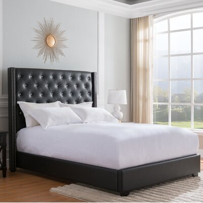 Rivage Upholstered Panel Bed Size: King, Color: Black