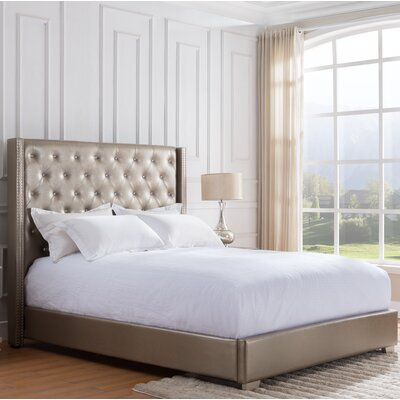 Rivage Upholstered Panel Bed Size: King, Color: Gold