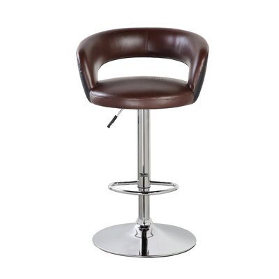 Stansel 25.4 Adjustable Height Swivel Bar Stool Color: Brown/Black