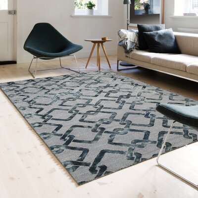 Eltingville Hand-Woven Wool Moss Gray Area Rug Rug Size: Rectangle 76 x 96