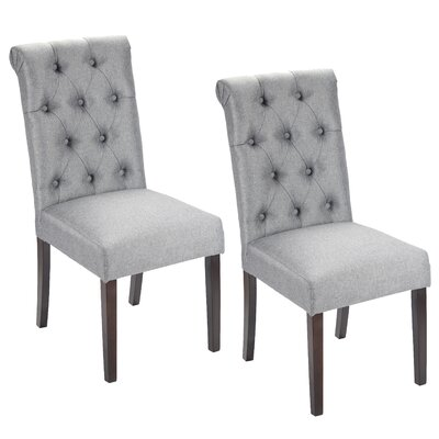Alarik Button Tufted Upholstered Dining Chair Upholstery Color: Dark Gray