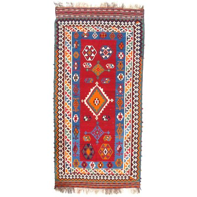 Persian Antique Hand-Knotted Wool Red Area Rug
