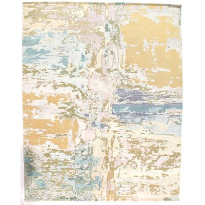 Modern Design Hand-Knotted Wool Beige Area Rug