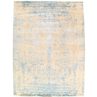 Modern Design Hand-Knotted Wool Cream Area Rug