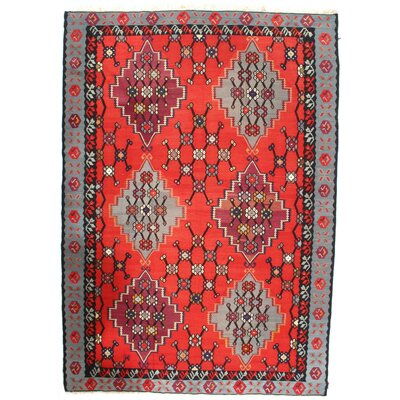 Turkish Hand-Tufted Wool Red Area Rug