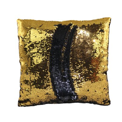 Kahl 15 Round Reversible Two Toned Sparkling Sequin Sew Throw Pillow Color: Gold/Black