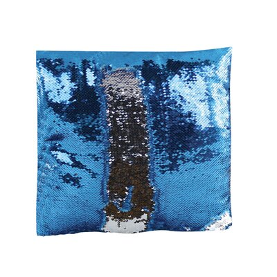 Kahl 15 Round Reversible Two Toned Sparkling Sequin Sew Throw Pillow Color: Blue/Gray