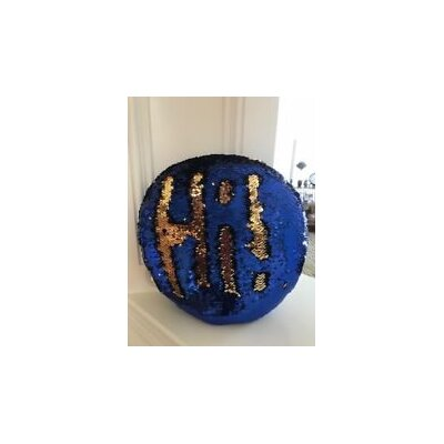 Kagan 15 Round Reversible Two Toned Sparkling Sequin Sew Throw Pillow Color: Blue/Gold