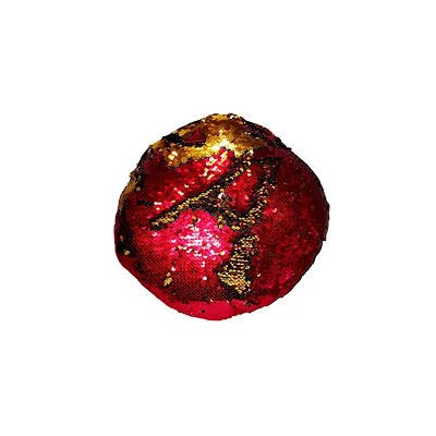 Kagan 15 Round Reversible Two Toned Sparkling Sequin Sew Throw Pillow Color: Red/Gold