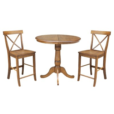 Yacoubou 3 Piece Extendable Counter Height Pub Table Set