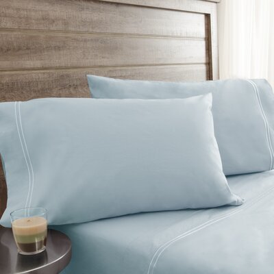Fielden Soft Washed 200 Thread Count 100% Cotton Sheet Set Color: Starlight Blue, Size: California King