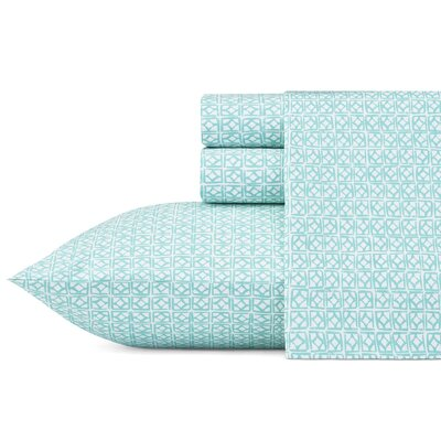 Cascara 200 Thread Count 100% Cotton Sheet Set Size: Full, Color: Turquoise