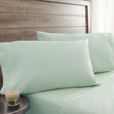 Fielden Soft Washed 200 Thread Count 100% Cotton Sheet Set Color: Pale Green, Size: Queen