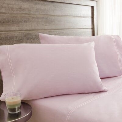 Fielden Soft Washed 200 Thread Count 100% Cotton Sheet Set Color: Soft Pink, Size: Twin