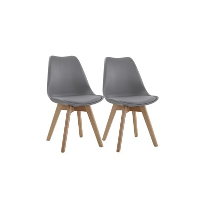 Downey Wooden Upholstered Dining Chair Upholstery Color: Gray