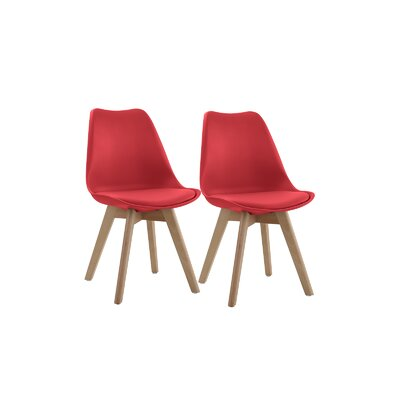 Downey Wooden Upholstered Dining Chair Upholstery Color: Red