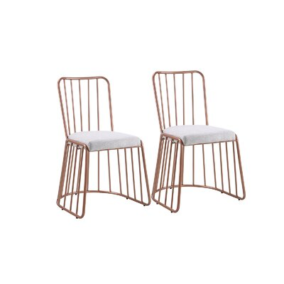 Dasilva Upholstered Dining Chair Frame Color: Rose Gold