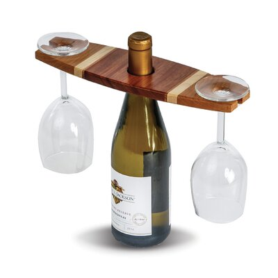 Ferrin 1 Bottle Tabletop Wine Glass Rack Finish: Cherry