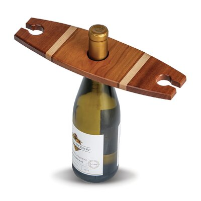 Ferrin 1 Bottle Tabletop Wine Glass Rack Finish: Walnut