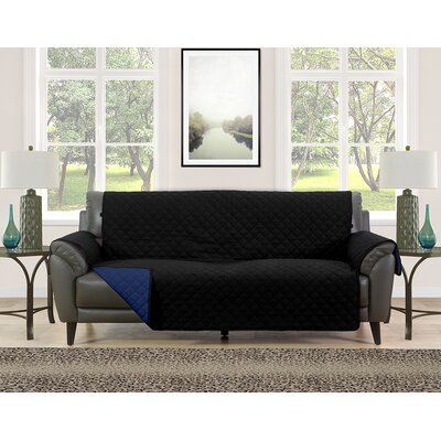 Sofa Slipcover Upholstery: Black/Navy
