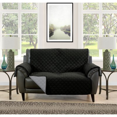 Loveseat Slipcover Upholstery: Black/Gray