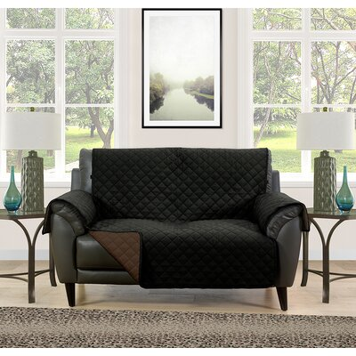 Loveseat Slipcover Upholstery: Black/Brown