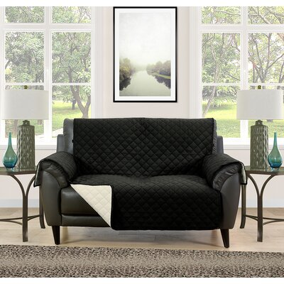 Loveseat Slipcover Upholstery: Black/Cream