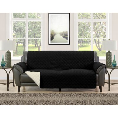 Sofa Slipcover Upholstery: Black/Cream