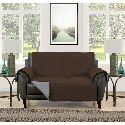 Loveseat Slipcover Upholstery: Brown/Gray