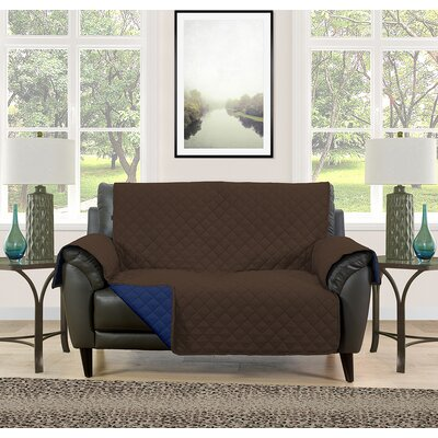Loveseat Slipcover Upholstery: Brown/Navy