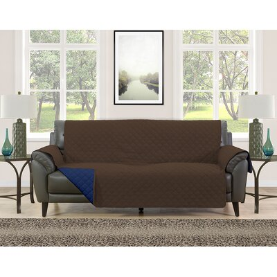 Sofa Slipcover Upholstery: Brown/Navy