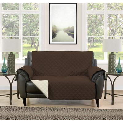 Loveseat Slipcover Upholstery: Brown/Cream