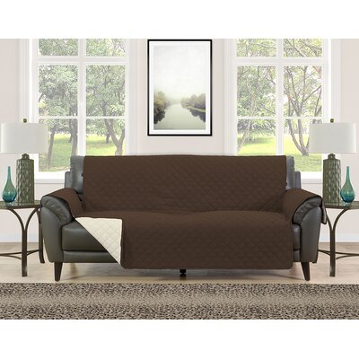 Sofa Slipcover Upholstery: Brown/Cream
