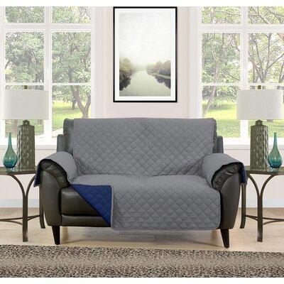 Loveseat Slipcover Upholstery: Gray/Navy