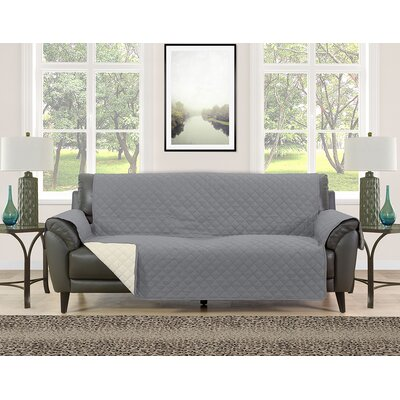 Sofa Slipcover Upholstery: Gray/Cream
