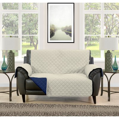 Loveseat Slipcover Upholstery: Cream/Navy