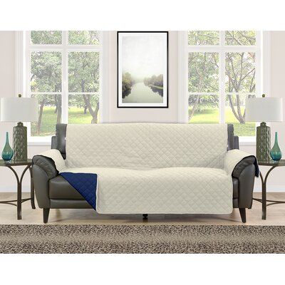 Sofa Slipcover Upholstery: Cream/Navy