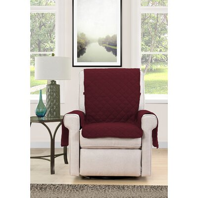 Chair Cover Armchair Slipcover Upholstery : Burgundy/Cream