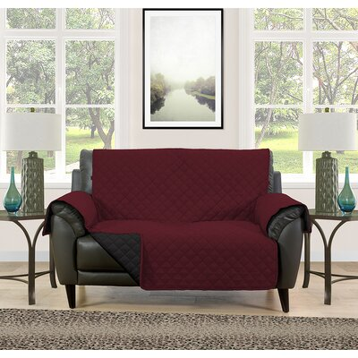 Loveseat Slipcover Upholstery: Burgundy/Black