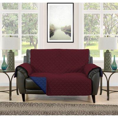 Loveseat Slipcover Upholstery: Burgundy/Navy