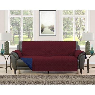 Sofa Slipcover Upholstery: Burgundy/Navy